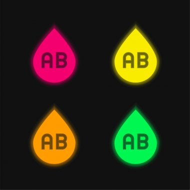Blood Type four color glowing neon vector icon stock vector