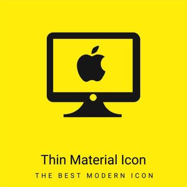 Apple Monitor minimal bright yellow material icon stock vector