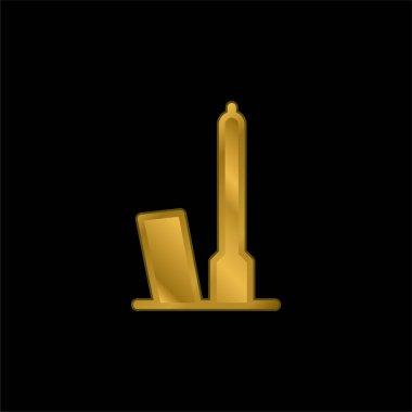 Bologna gold plated metalic icon or logo vector stock vector