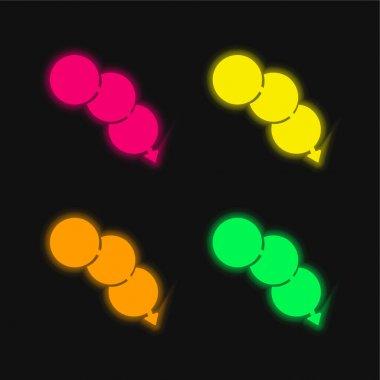 Arrow Through Circles four color glowing neon vector icon stock vector