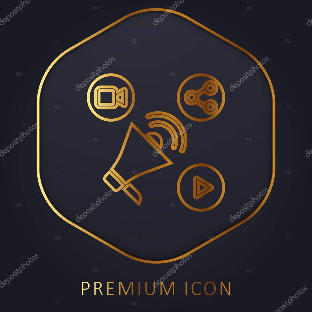 Advertising golden line premium logo or icon stock vector