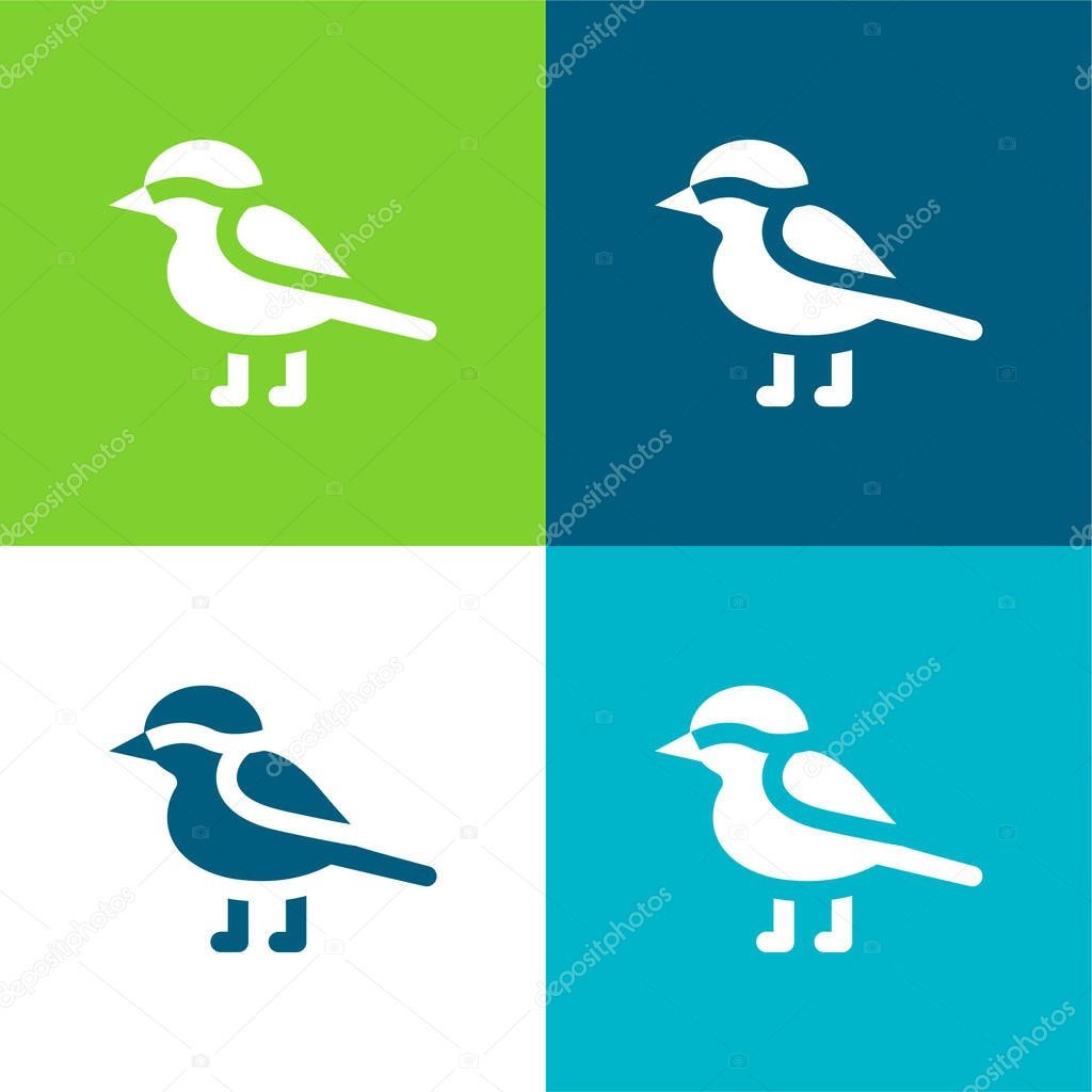 Bird Flat four color minimal icon set stock vector