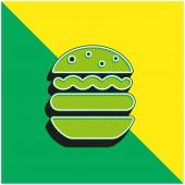 Großes modernes 3D-Vektorsymbol in grün und gelb