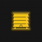 Bienenstock gelb leuchtendes Neon-Symbol