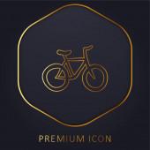 Kolo ručně kreslené ekologické dopravy zlatá čára prémie logo nebo ikona