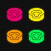 Zvíře čtyři barvy zářící neonový vektor ikona