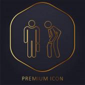 Rozzlobený zlatá čára prémie logo nebo ikona