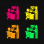Zuordnung vier Farbe leuchtenden Neon-Vektor-Symbol