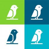 Bird Flat vier Farben minimales Symbol-Set