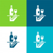 Bar Service Flat čtyři barvy minimální ikona nastavena