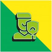 Grünes und gelbes modernes 3D-Vektor-Symbol-Logo
