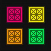 Základní čtyři barvy zářící neonový vektor ikona