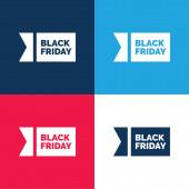 Černá pátek modrá a červená čtyři barvy minimální ikona nastavena
