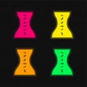 Tělo lázně a masáž čtyři barvy zářící neonový vektor ikona