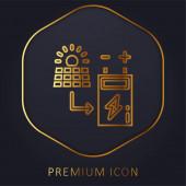 Batterie goldene Linie Premium-Logo oder Symbol