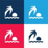 Strand Sonnenuntergang blau und rot vier Farben minimales Symbol-Set