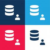 Správce modrá a červená čtyři barvy minimální ikona nastavena