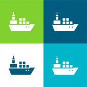 Csónak konténerekkel Lakás négy szín minimális ikon készlet