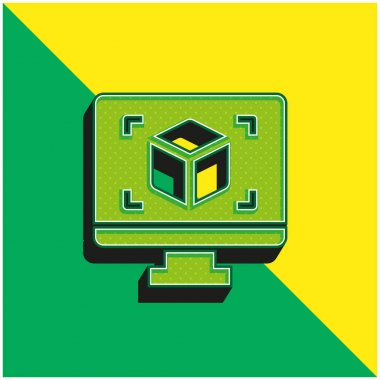 3d Display Green and yellow modern 3d vector icon logo stock vector
