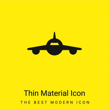 Airplane Frontal View minimal bright yellow material icon stock vector