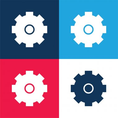 Big Cogwheel blue and red four color minimal icon set stock vector