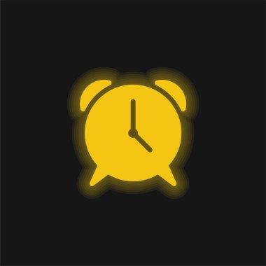 Alarm sarı parlayan neon simgesi