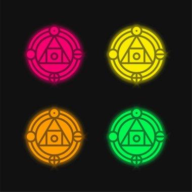 Alchemy four color glowing neon vector icon stock vector