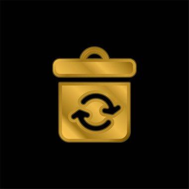 Bin gold plated metalic icon or logo vector stock vector