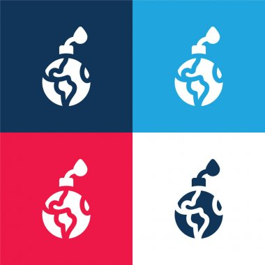 Bomb blue and red four color minimal icon set stock vector