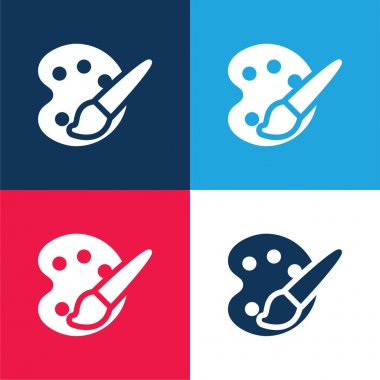 Art Palette blue and red four color minimal icon set stock vector