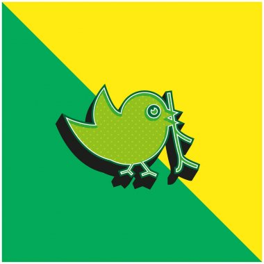 Bird With Sprig In Its Beak Green and yellow modern 3d vector icon logo stock vector