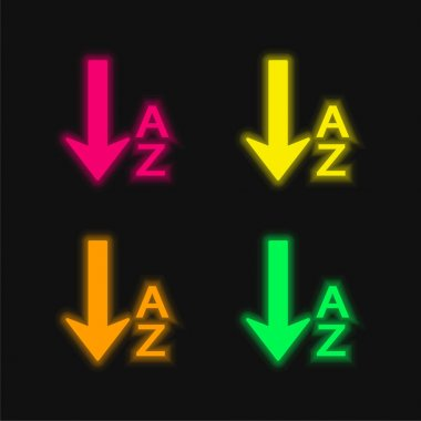 Alphabetical Order four color glowing neon vector icon