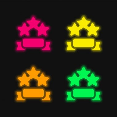 Banner four color glowing neon vector icon stock vector