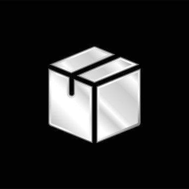 Box silver plated metallic icon stock vector