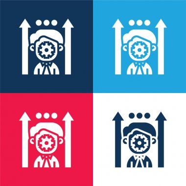 Boosting Potential blue and red four color minimal icon set stock vector