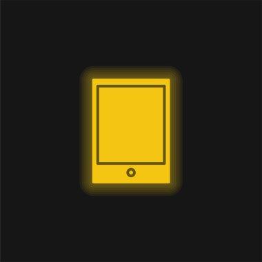 Big Ipad yellow glowing neon icon stock vector