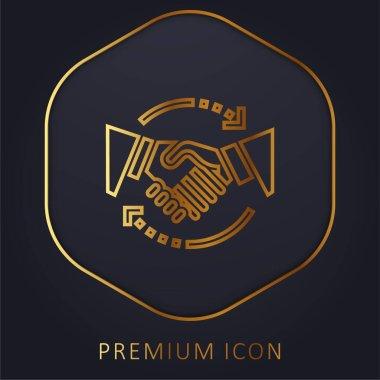 Agreement golden line premium logo or icon stock vector