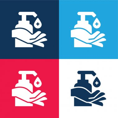 Alcohol blue and red four color minimal icon set stock vector