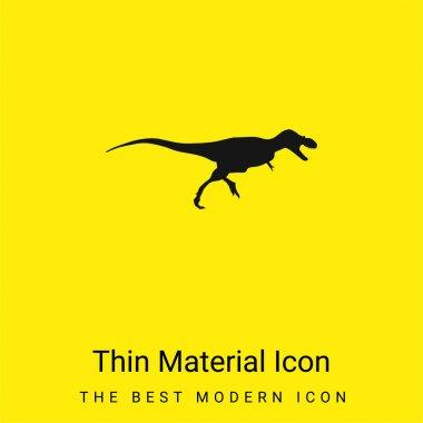 Albertosaurus Dinosaur Side View Shape minimal bright yellow material icon stock vector