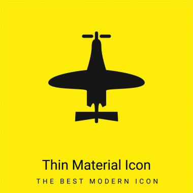 Airplane Of Small Size Top View minimal bright yellow material icon stock vector