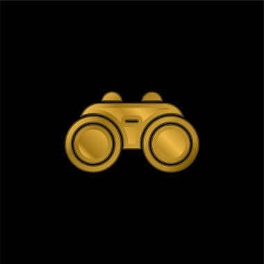 Binocular gold plated metalic icon or logo vector stock vector