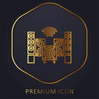 Audio golden line premium logo or icon stock vector