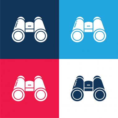 Binocular blue and red four color minimal icon set stock vector
