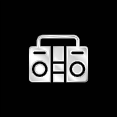 Boombox silver plated metallic icon stock vector