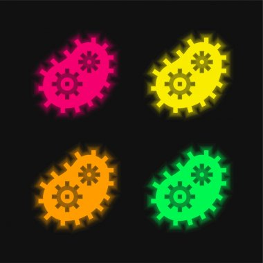 Bacteria four color glowing neon vector icon stock vector