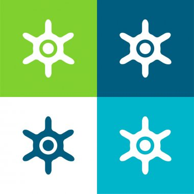 Boat Wheel Flat four color minimal icon set stock vector
