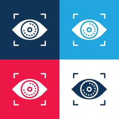 Biometric Recognition blue and red four color minimal icon set stock vector