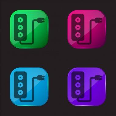 Adaptor four color glass button icon stock vector