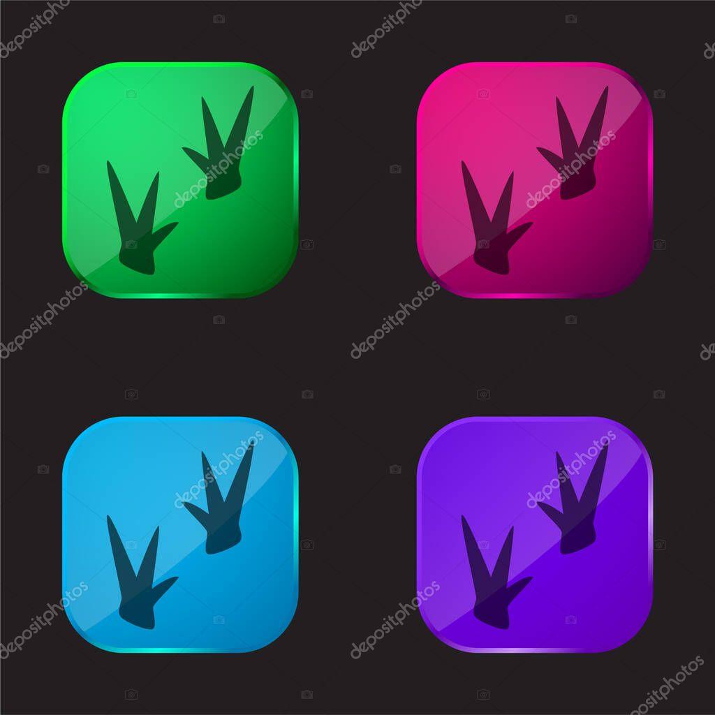 Birds four color glass button icon stock vector