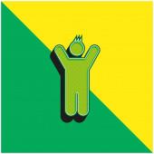 Junge mit erhobenen Armen grün und gelb modernes 3D-Vektorsymbol-Logo